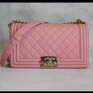 CHANEL Bags - Chanel Boy Pink Caviar 19S Old Medium